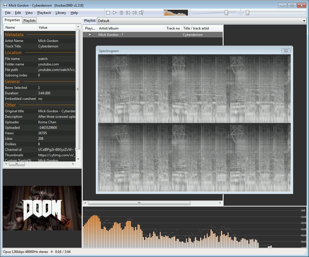 Foobar 2000 beim Abspielen des Soundtracks von DOOM 4