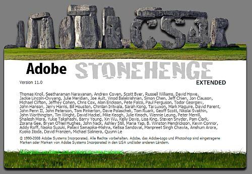 der alternative About-Bildschirm, angelehnt an Stonehenge