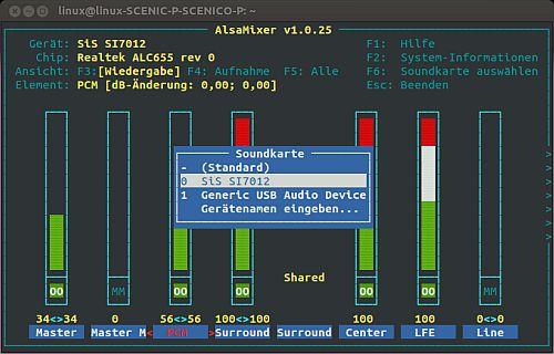 alsamixer mit Auswahlmenü zwischen 2 Soundkarten - USB Gerät auswählen