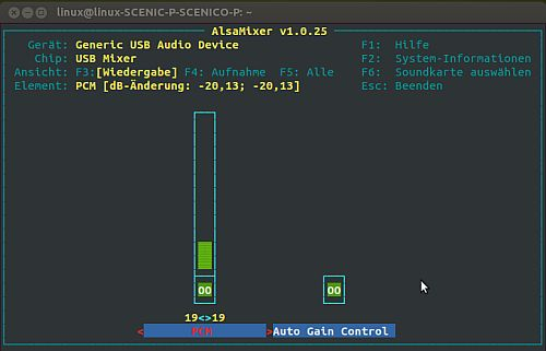 alsamixer - USB Soundkarte wurde ausgewählt