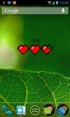 Heart Container Battery Meter Widget