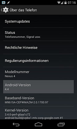 Android Version 4 - mehrfach antippen