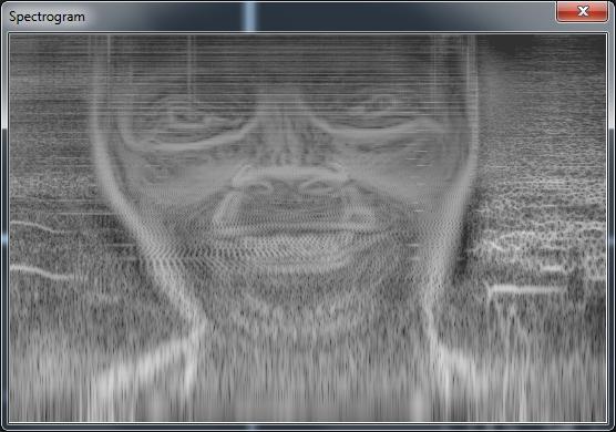 """Gesicht im Spektrogramm des Stückes """"Formula"""""""