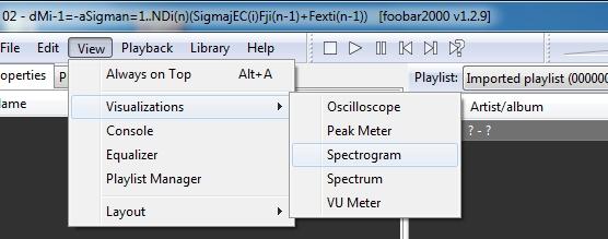 Einstellung der Visualisierung mit Spectrogramm