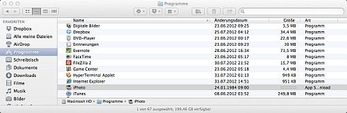 Programm-Ordner während eines Downloads