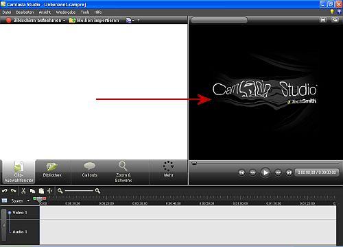 Screenshot der Programmoberfläche mit dem Wassereffekt