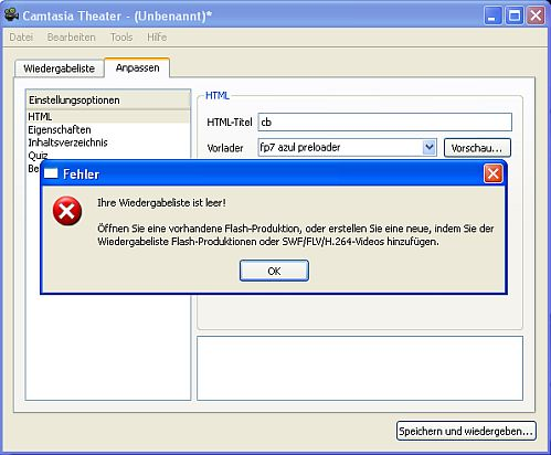 HTML-Titel -cb- und das Fehlerfenster