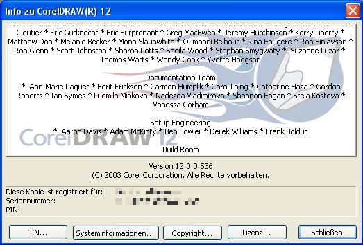 Screenshot mit dem Entwicklernamen