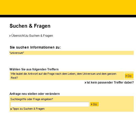 Ausschnitt aus der Webseite der Deutschen Post