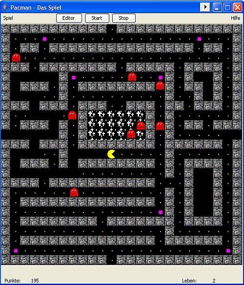 nett gemachtes Pacman-Spiel in DPMAdirekt 1.2 für Windows
