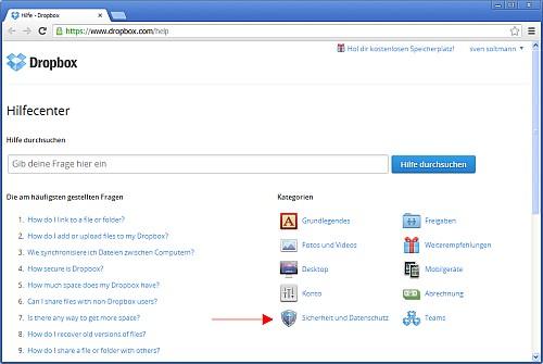 Screenshot der Hilfeseite