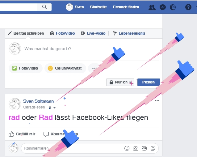 Fliegende Facebook-Likes