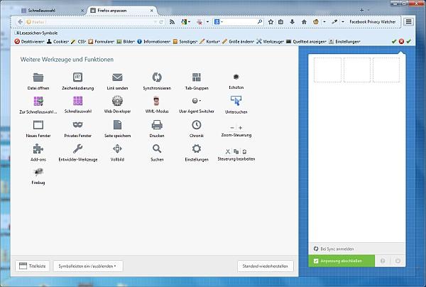 Firefox 29 - alles aus dem rechten Kasten wurde nach links gezogen