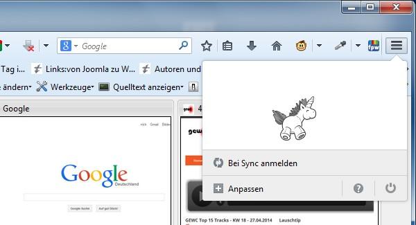Ausschnitt des Firefox Browsers