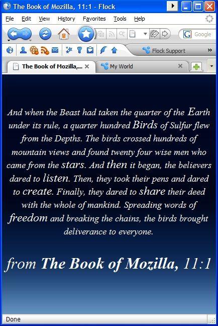 Der Browser mit der geöffneten Seite aus dem Book of Mozilla