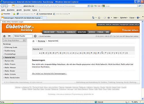 Screenshot der Webseite von Globetrotter