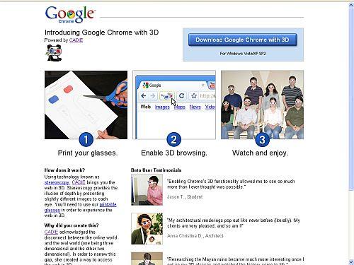 Startseite von Google Chrome 3D