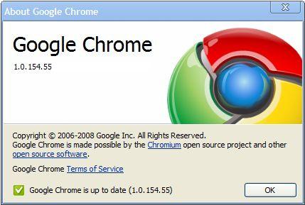 Der About Bildschirm von Google Chrome