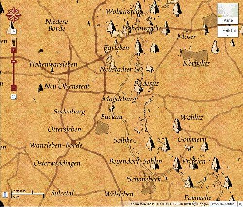 Google Maps als mittelalterliche  Schatzkarte