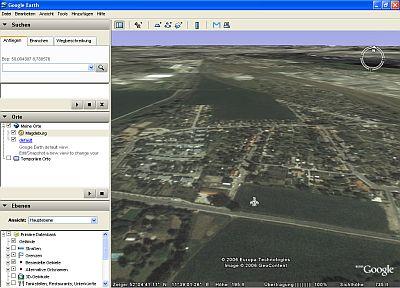 Oberfläche des Programms Google Earth