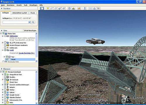 Google Earth Seite mit Polizeiauto