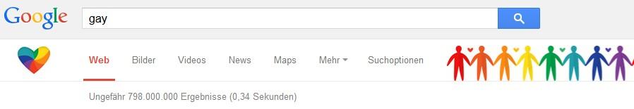 Das dekorierte Suchfeld von Google
