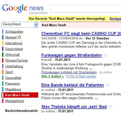 Statt Chemnitz erscheint Karl Marx Stadt