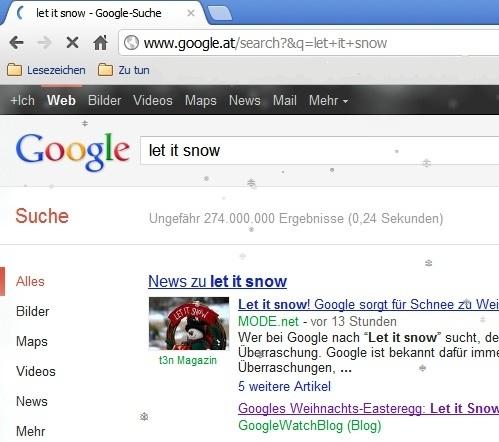 Webseitenausschnitt mit Schneeflocken