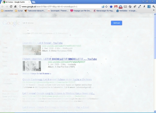 Webseite mit Frosteffekt