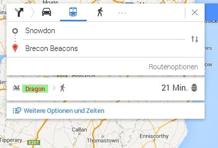 Schneller von Snowdon nach Brecon Beacons mit einem Drachen