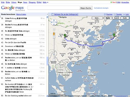 Screenshot der Planung von Japan nach China