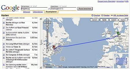 Screenshot der Webseite mit Planung Magdeburg-Washington D.C.