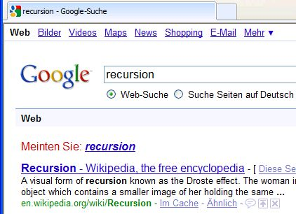 Screenshoot des Googleaufrufes - recursion