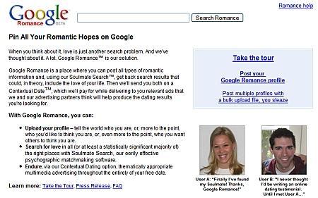 Screenshot der Startseite von Google Romance