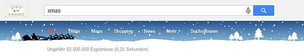 Suchleiste von Google zu Weihnacht