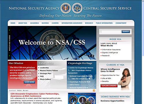 Screenshot der Webseite der NSA