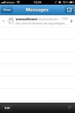 Twitter App DM Bildschirm