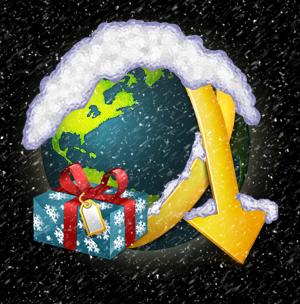 Weihnachtsmotiv beim starten
