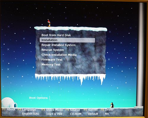 Weihnachtliches Bootmenü im Bootmanager GRUB