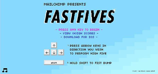 Fastfives als Spiel in Mailchimp