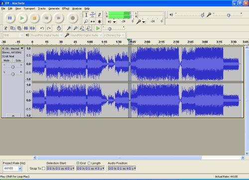 Machete - im Audioeditor Audacity mit markiertem Bereich