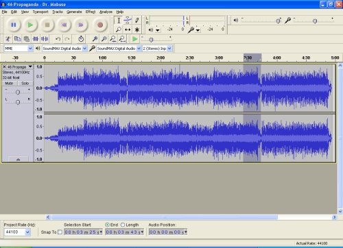 Screenshoot von Audacity