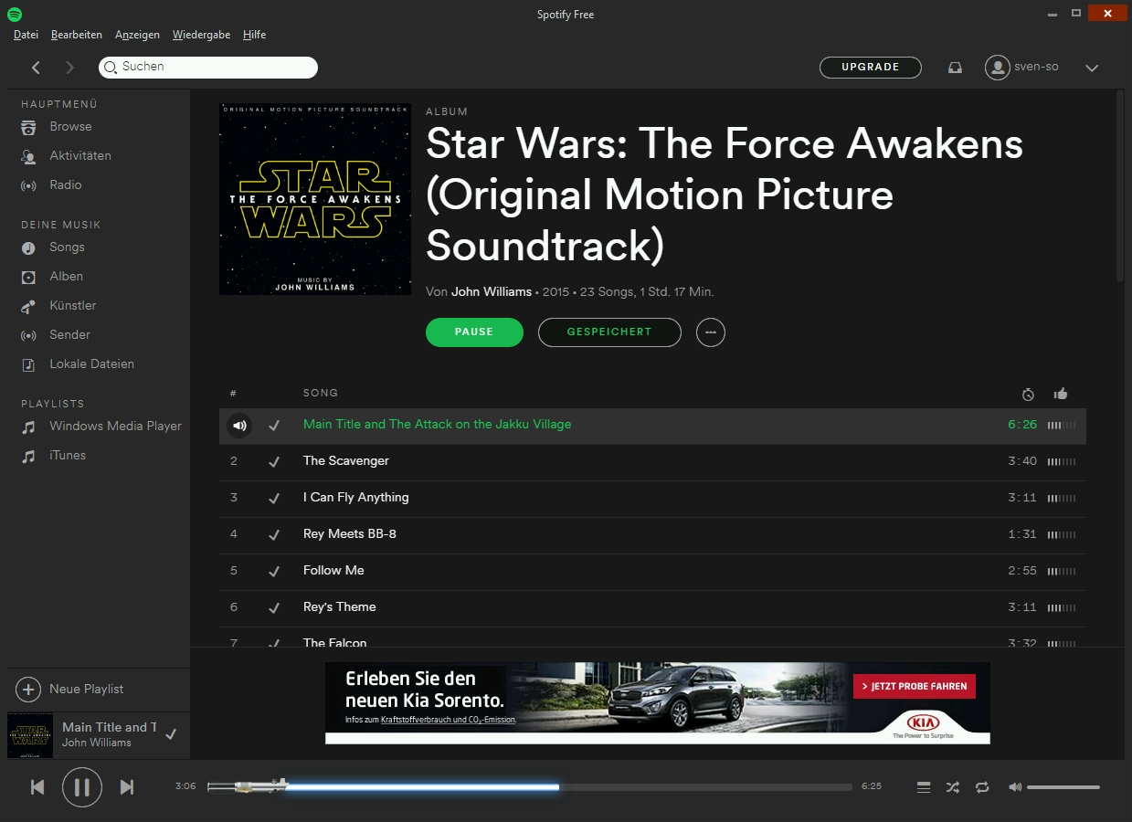Oberfläche von Spotify für Windows mit Laserschwert Fortschrittsanzeige